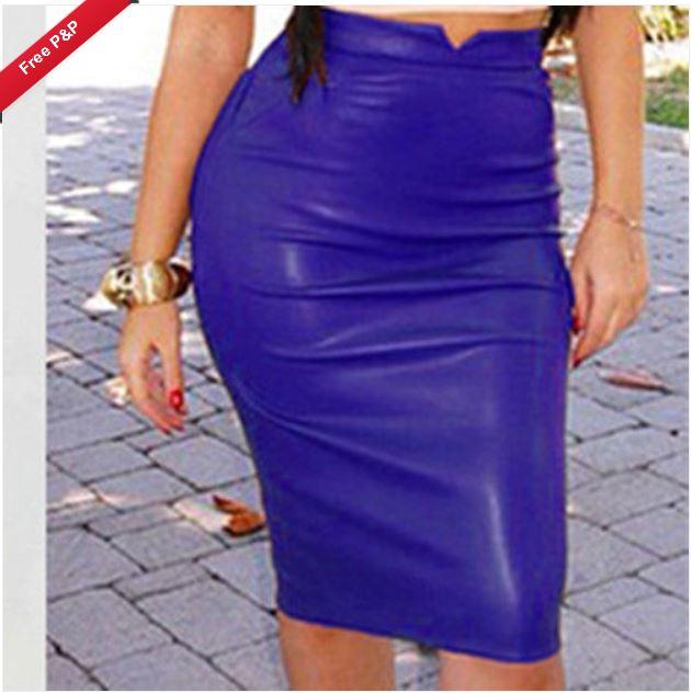 13551e7d2 SK010B Womens Plain PU Leather Bodycon Pencil High Waisted Knee Length Skirt  Dress SIZE 10 BLUE