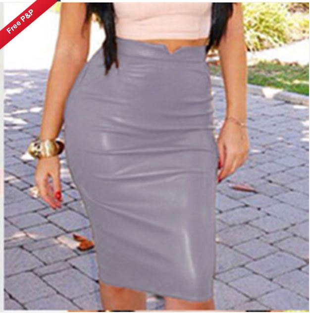 5cbad15908 SK010G Womens Plain PU Leather Bodycon Pencil High Waisted Knee Length Skirt  Dress SIZE 10 GREY