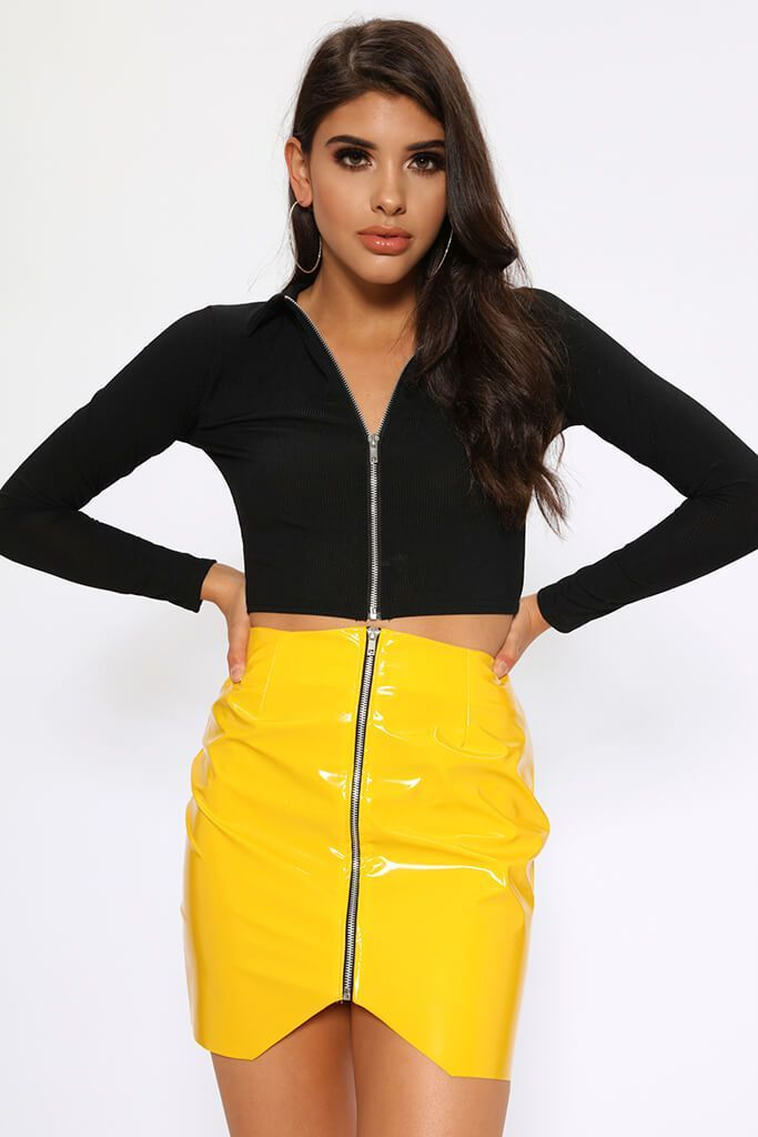 4c1c2c0822a1c Yellow Vinyl PVC Chrome Zip Front Faux Leather Skirt Size UK 8 / UK 10 FREE  DELIVERY