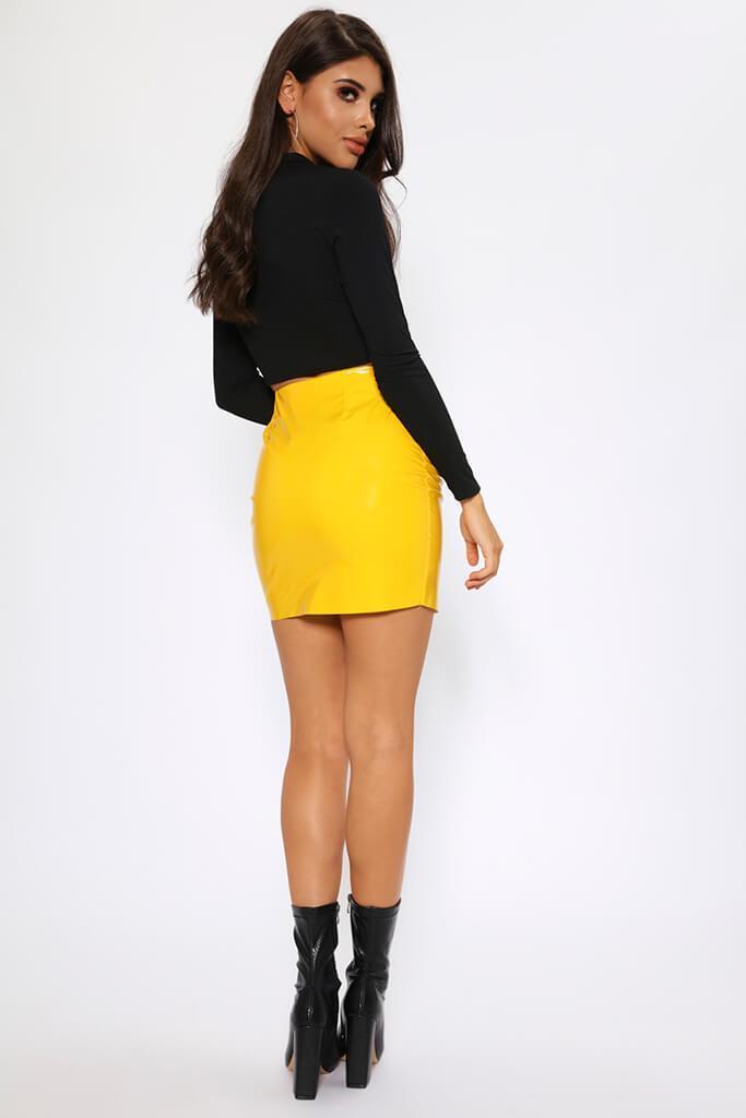 ad21de8de3 Yellow Vinyl PVC Chrome Zip Front Faux Leather Skirt Size UK 8 / UK ...